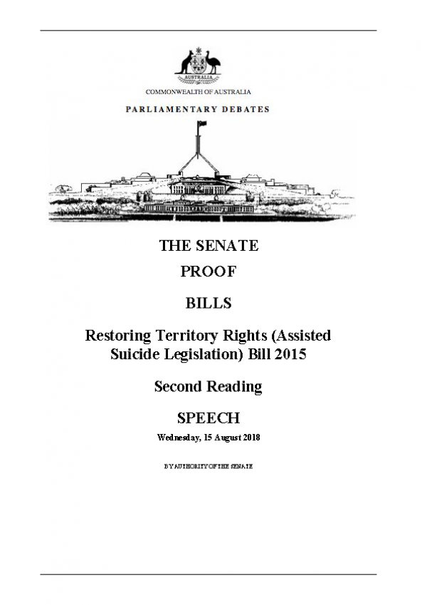 Restoring Territory Rights (Assisted Suicide Legislation) Bill 2015