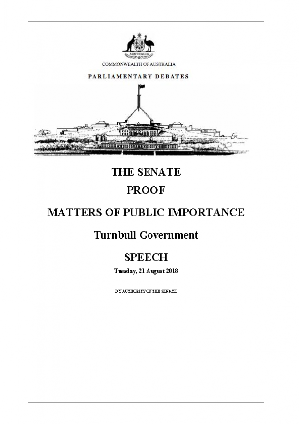MATTERS OF PUBLIC IMPORTANCE Turnbull Government