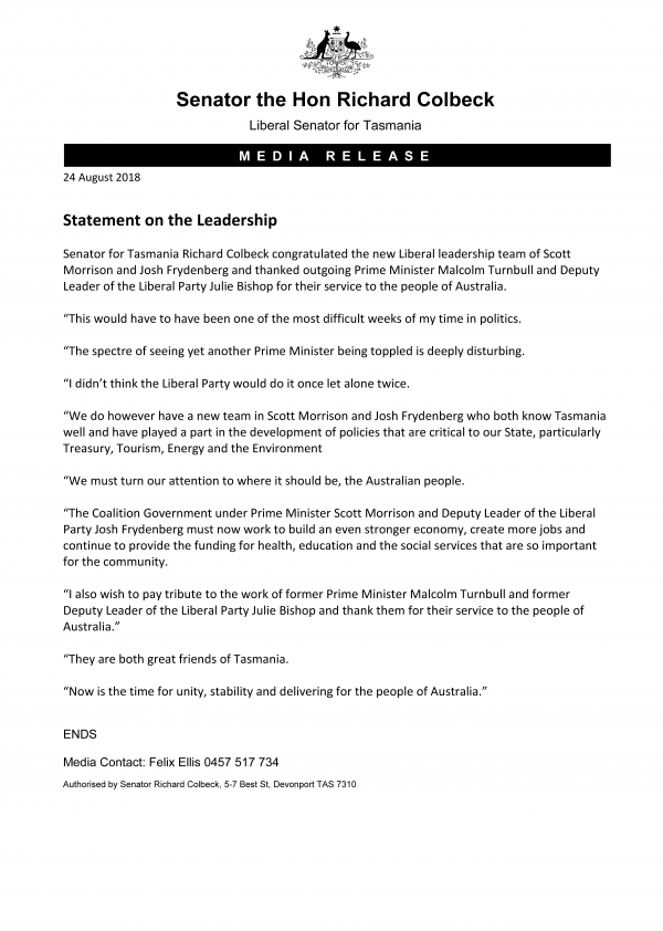Statement on the Leadership