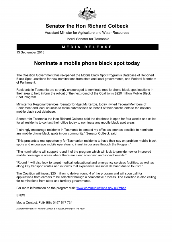 Nominate a mobile phone black spot today