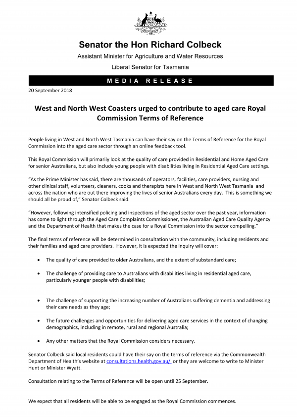 West and North West Coasters urged to contribute to aged care Royal Commission Terms of Reference