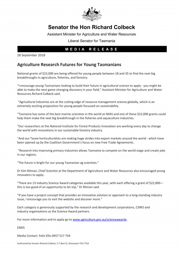 Agriculture Research Futures for Young Tasmanians