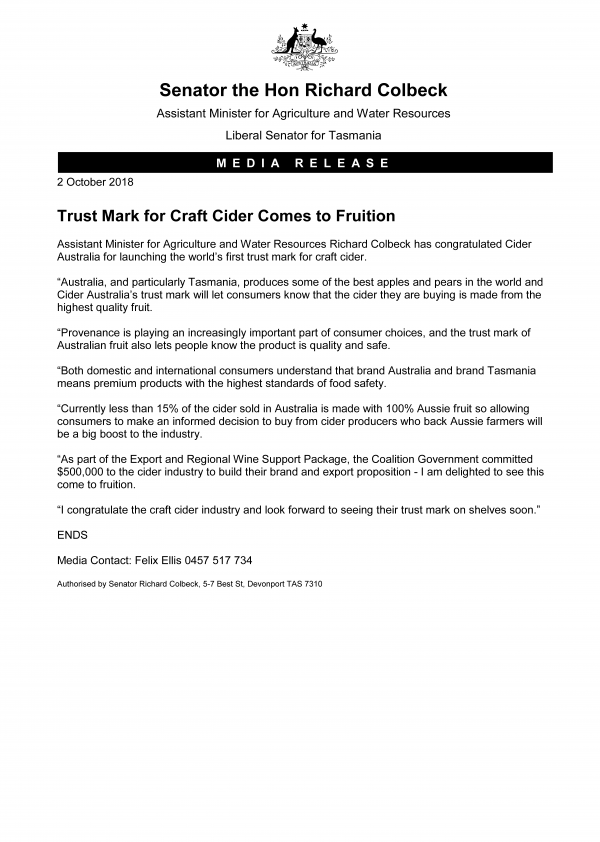 Trust Mark for Craft Cider Comes to Fruition