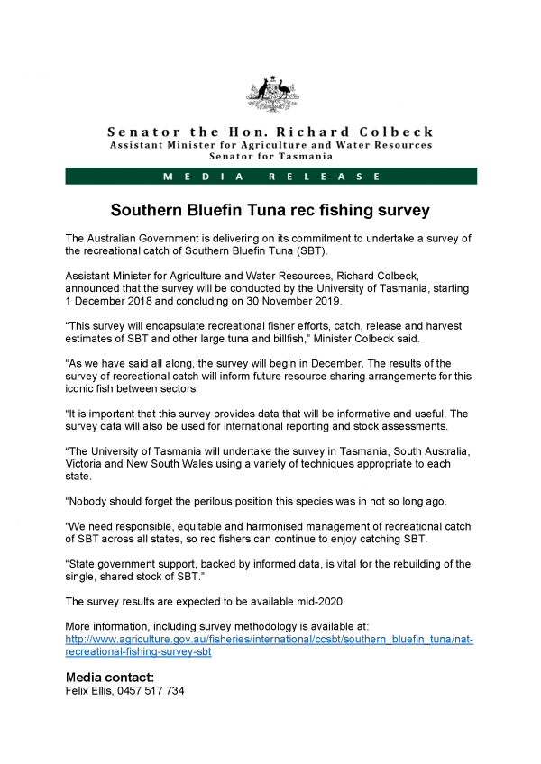 Southern Bluefin Tuna rec fishing survey