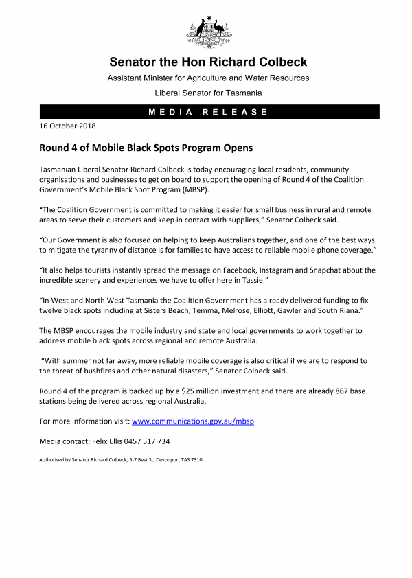 Round 4 of Mobile Black Spots Program Opens