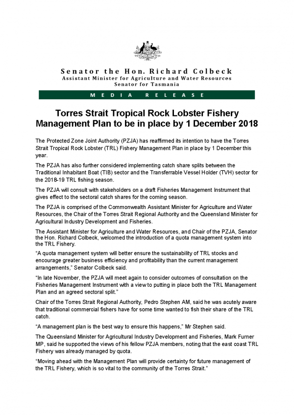 Torres Strait Tropical Rock Lobster Fishery Management Plan to be in place by 1 December 2018