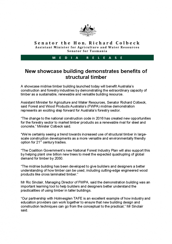 New showcase building demonstrates benefits of structural timber