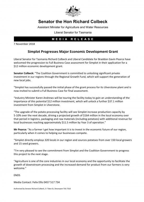 Simplot Progresses Major Economic Development Grant