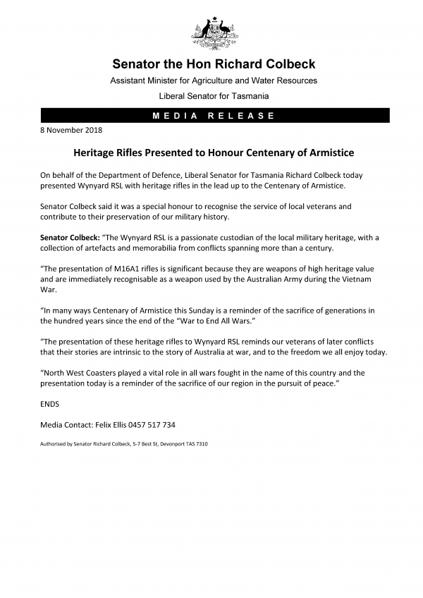 Heritage Rifles Presented to Honour Centenary of Armistice