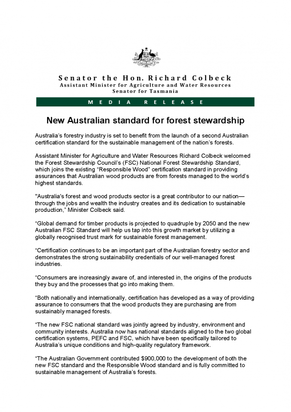 New Australian standard for forest stewardship