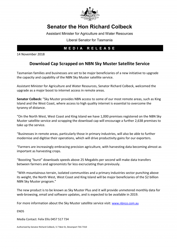 Download Cap Scrapped on NBN Sky Muster Satellite Service
