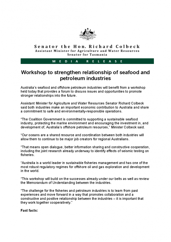 Workshop to strengthen relationship of seafood and petroleum industries