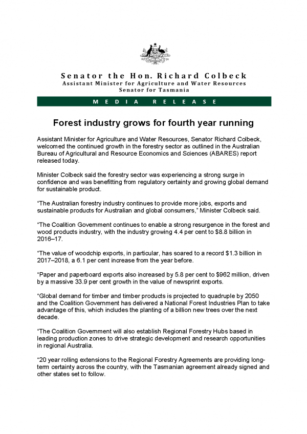 Forest industry grows for fourth year running