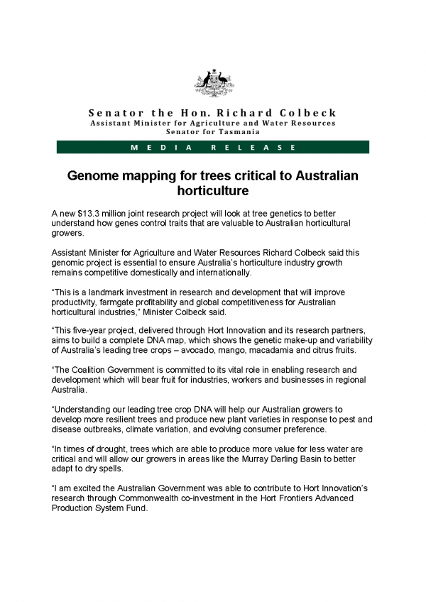 Genome mapping for trees critical to Australian horticulture