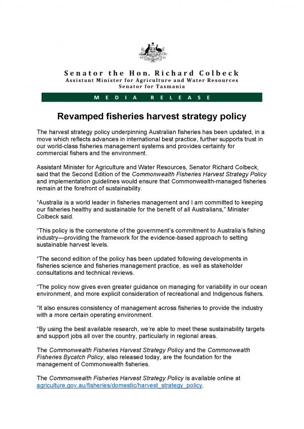 Revamped fisheries harvest strategy policy