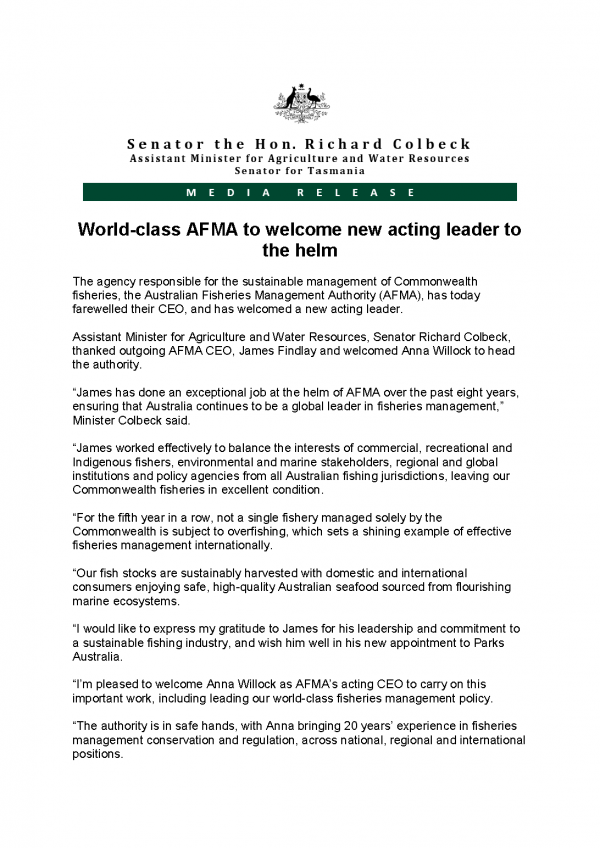 World-class AFMA to welcome new acting leader to the helm