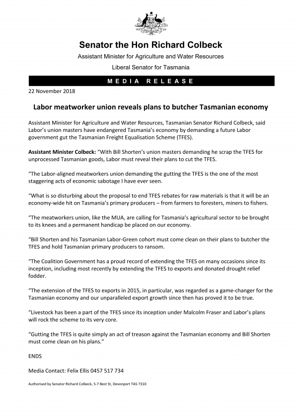 Labor meatworker union reveals plans to butcher Tasmanian economy