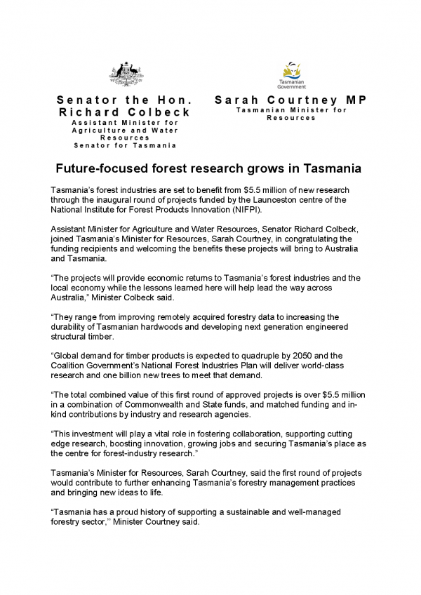 Future-focused forest research grows in Tasmania