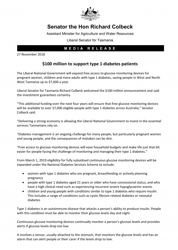 $100 million to support type 1 diabetes patients
