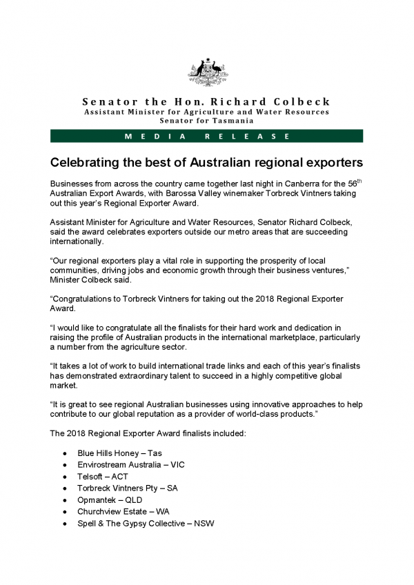 Celebrating the best of Australian regional exporters