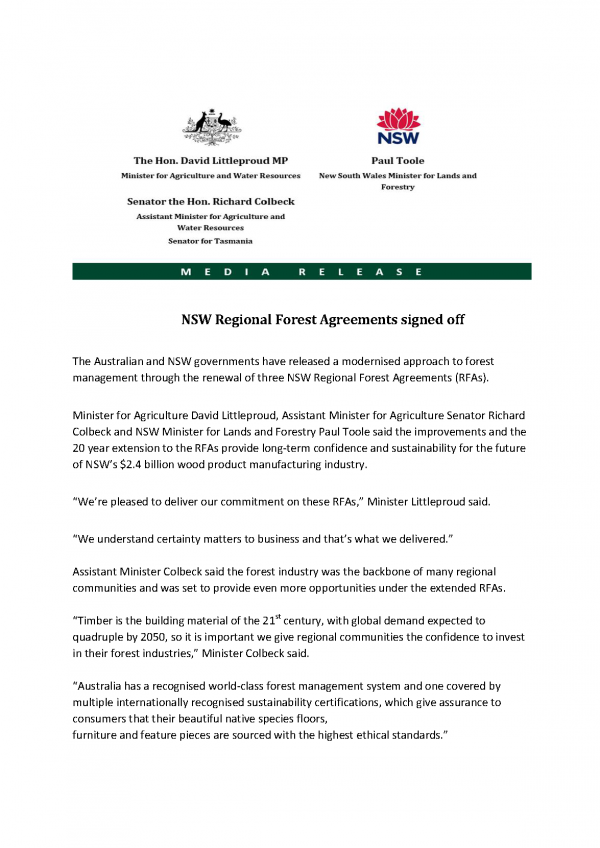 NSW Regional Forest Agreements signed off