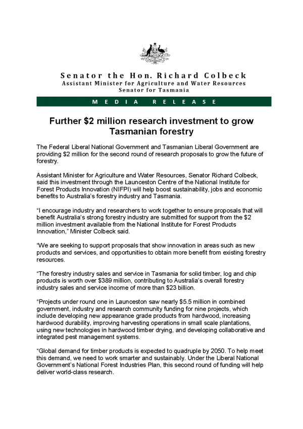 Further $2 million research investment to grow Tasmanian forestry