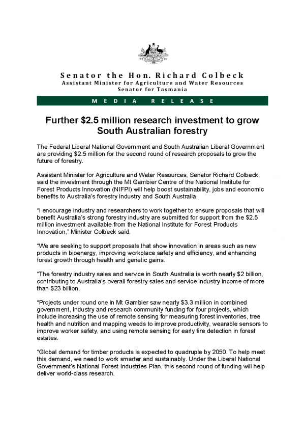 Further 2.5 million research investment to grow South Australian forestry
