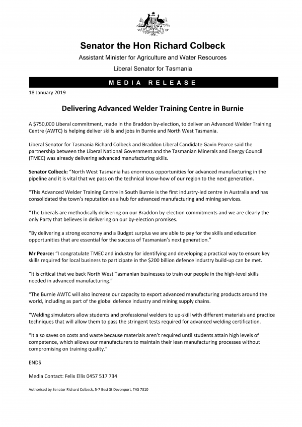 Delivering Advanced Welder Training Centre in Burnie