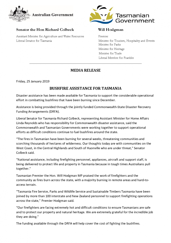 BUSHFIRE ASSISTANCE FOR TASMANIA