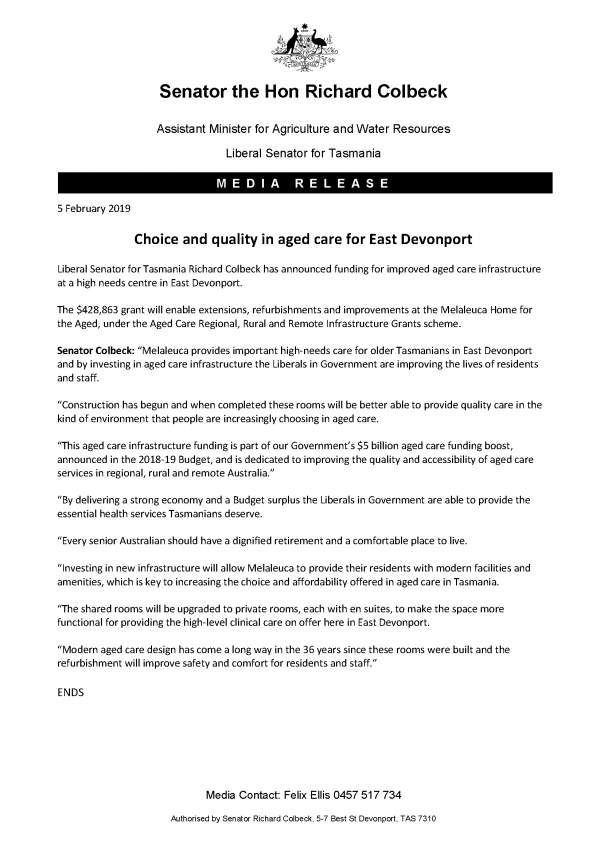 Choice and quality in aged care for East Devonport