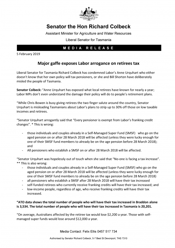 Major gaffe exposes Labor arrogance on retirees tax