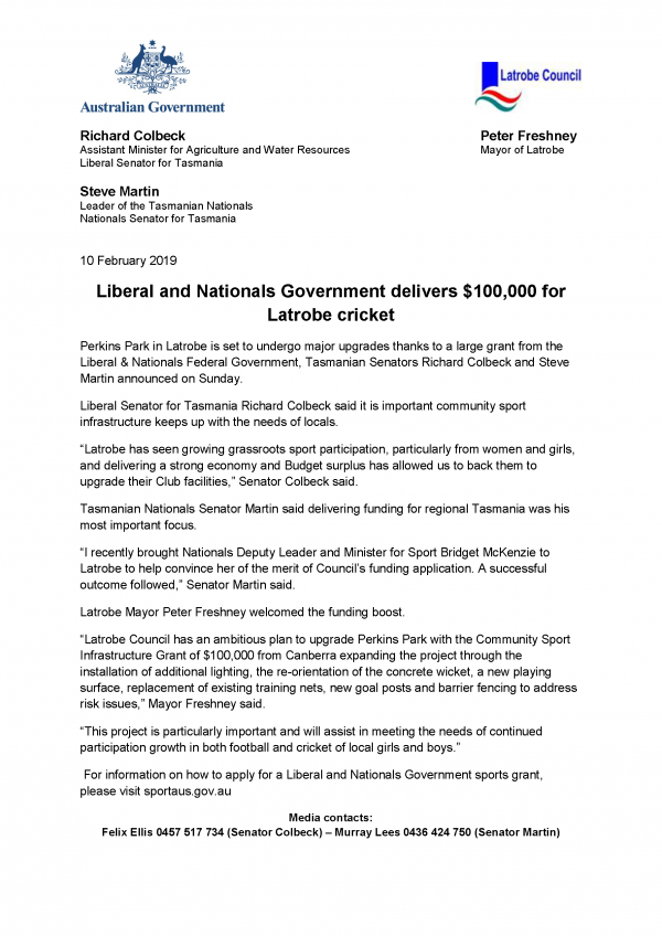 Liberal and Nationals Government delivers $100,000 for Latrobe cricket
