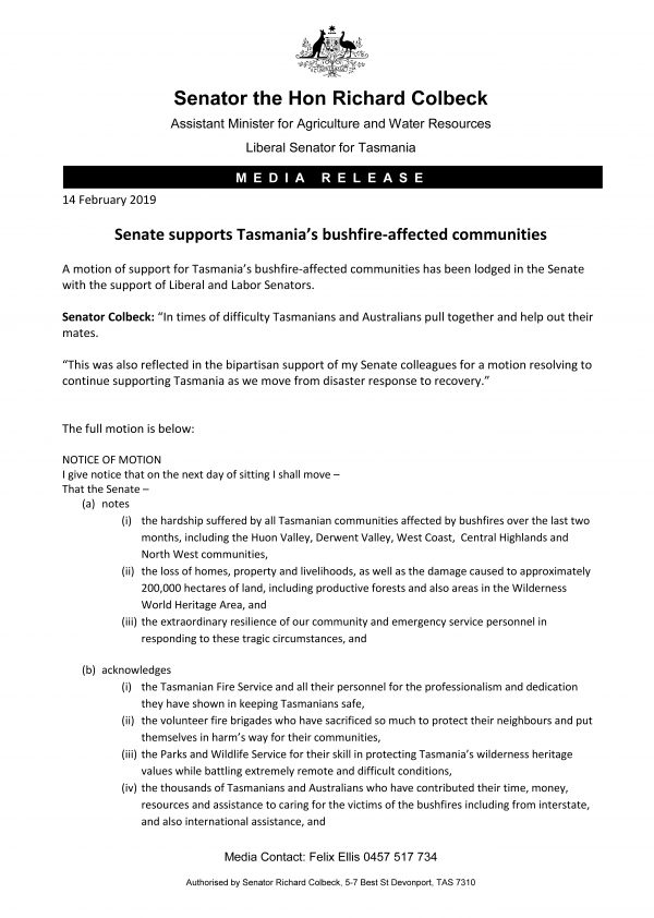 Senate supports Tasmania's bushfire-affected communities