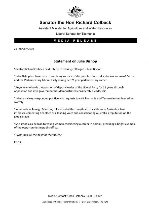 Statement on Julie Bishop