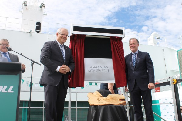 Deck crowded for naming ceremony of Toll Group's Tasmanian Achiever II freight vessel