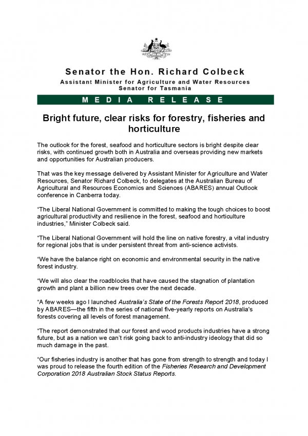 Bright future, clear risks for forestry, fisheries and horticulture