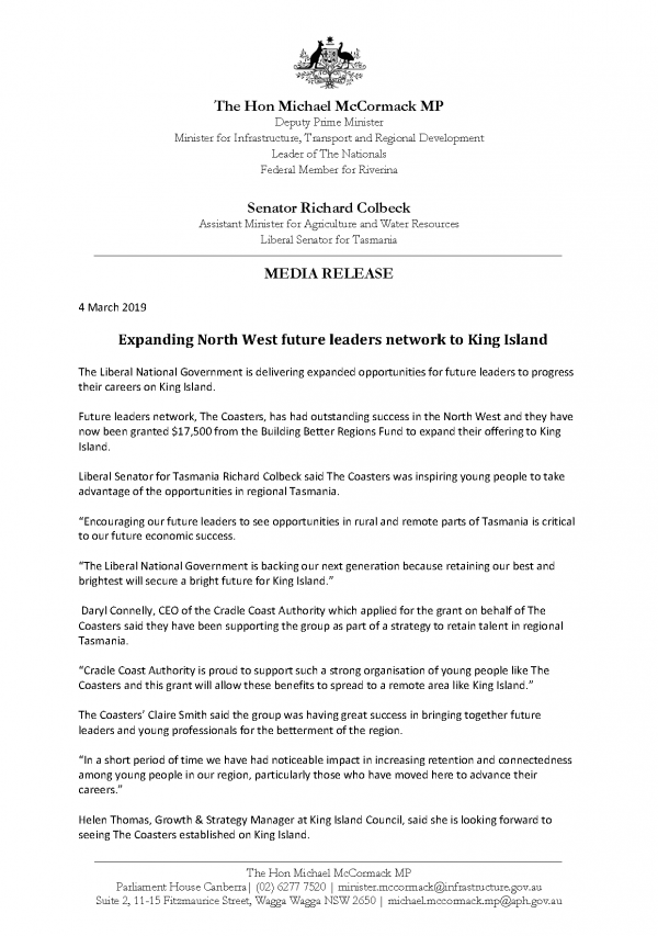 Expanding North West future leaders network to King Island