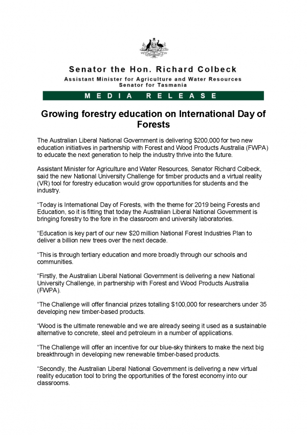 Growing forestry education on International Day of Forests