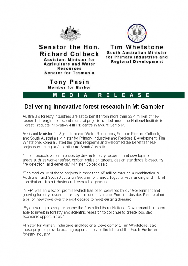Delivering innovative forest research in Mt Gambier