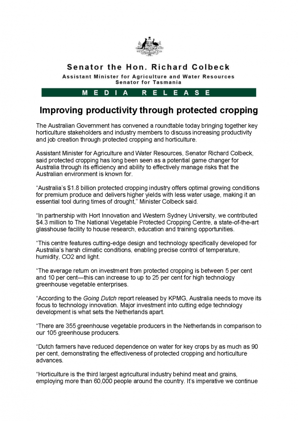 Improving productivity through protected cropping