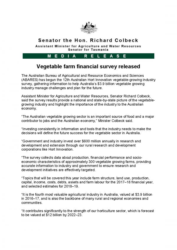 Vegetable farm financial survey released
