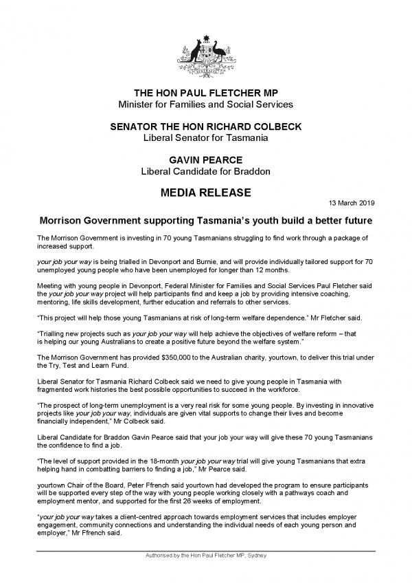 Morrison Government supporting Tasmania's youth build a better future