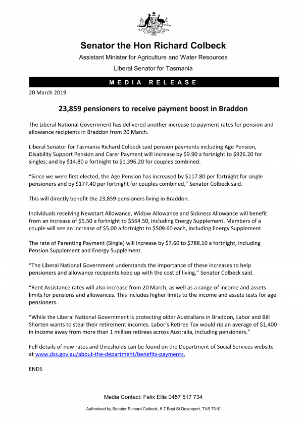 23,859 pensioners to receive payment boost in Braddon
