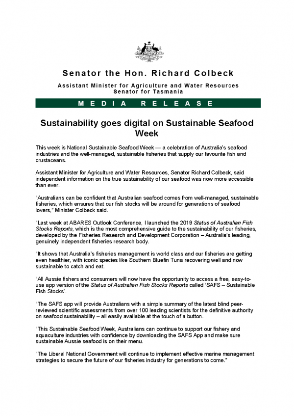 Sustainability goes digital on Sustainable Seafood Week