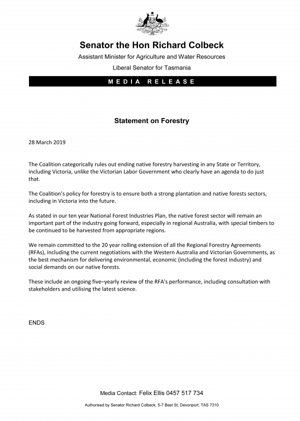 Statement on Forestry