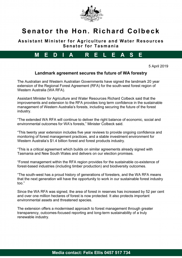 Landmark agreement secures the future of WA forestry